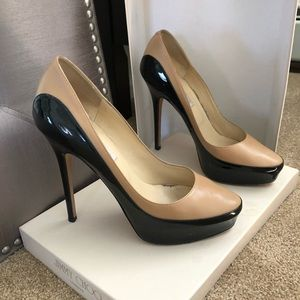 Jimmy Choi Sepia calf/patent nude/black pumps